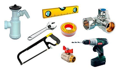 Инструменты и материалы для подключения стиральной машинки