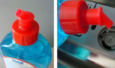 Загрузка ополаскивателя Somat в посудомойку