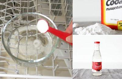 Сода и уксус для чистки посудомойки