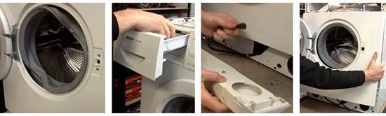 Снятие передней крышки стиральной машины