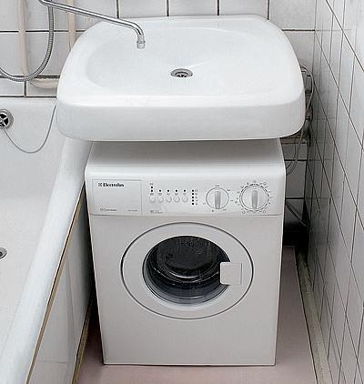 Раковина кувшинка над стиральной машиной без столешницы