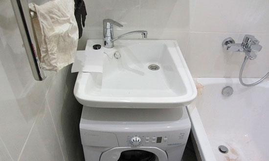 Раковина ракушка над стиральной машиной с задним сливом