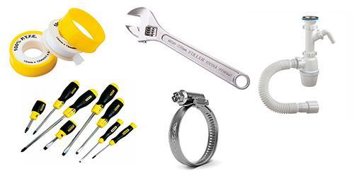 Инструменты и материалы для установки посудомойки