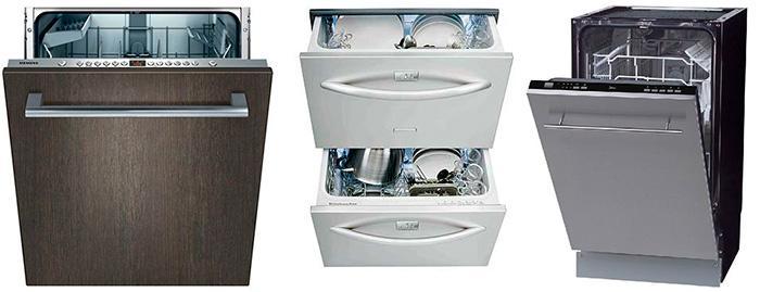 Типы встраиваемых посудомоечных машин