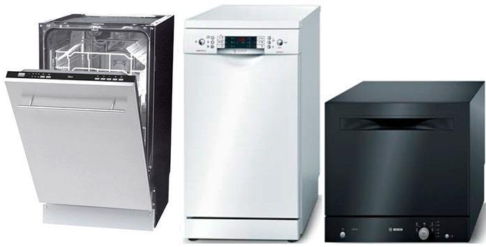 Виды компактных посудомоечных машин