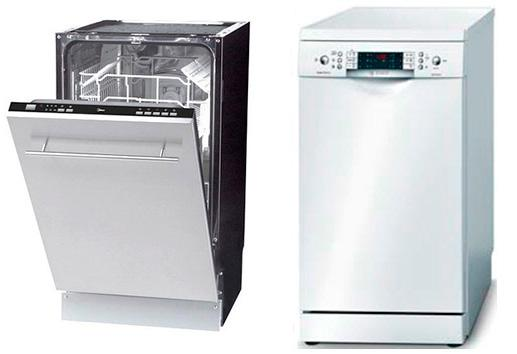 Виды узких посудомоечных машин