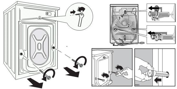 Как снять транспортировочные болты на стиральной машине