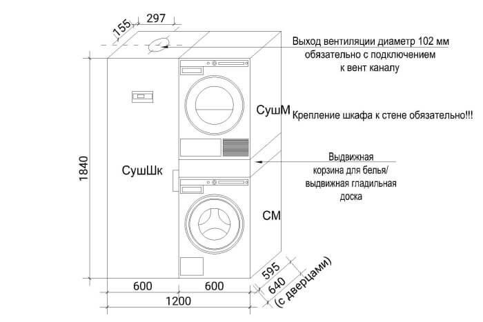 стиральная машина и сушильная машина в колонну
