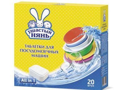 Таблетки Ушастый Нянь для мытья детской посуды